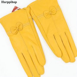 mitten leather UK - High quality Women's fashion winter gloves For Ladies' More warm Add wool gloves female cape glove Women Genuine leather Gloves D18110705