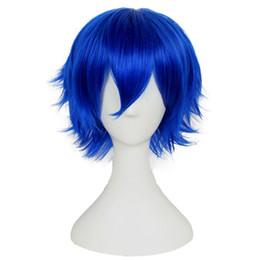 Pelucas sintéticas ninguna peluca de encaje corto recta azul Cosplay pelucas  cortas a prueba de calor para mujeres negras peluca de Anime dcbed7e4c50c