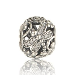 pandora dragonfly UK - 5pcs lot S925 sterling silver charms fits pandora style bracelets Dragonfly Meadow Charm 791733CZ H9