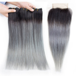 grey remy hair extensions 2019 - Ombre Grey Straight Human Hair Bundles with Closure T 1B Grey Colored Brazilian Hair Extension Brazilian Peruvian Indian
