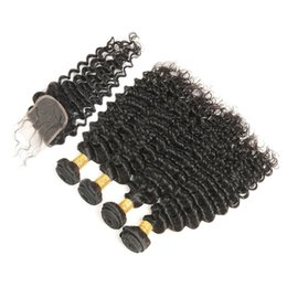 Chinese  Peruvian Deep Wave Curly Hair Bundles with Lace Closure Virgin Hair Extensions Human Hair Weave with Closure Natural Color Free Shipping manufacturers