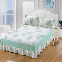 Discount pink ruffle bedding - Princess Style 100% Cotton Bedding Set Lace ruffle Solid green Leaf Bedding 3pcs Bed Skirt soft Pillowcase twin full que