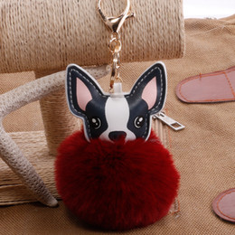 wholesale dog lover gifts NZ - Lovely Fluffy Rabbit Fur Ball French Bulldog Keychain Pompom Key Chain Pu Leather Animal Dog Keyring Wedding Birthday Gifts