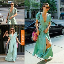 miranda red dress Australia - Free Shipping Mint Green Miranda Kerr Evening Dress New Sexy Deep V-Neck Chiffon Long Casual Party Gown Celeybrity Dress