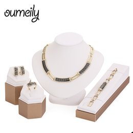 $enCountryForm.capitalKeyWord UK - OUMEILY Women African Beads Jewelry Sets Imitation Crystal Necklace Earring Ring Bracelet Jewelries Set Gold Color Accessories