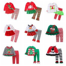 a0095029caa Kids Girls Christmas Clothing Sets Xmas Ins Outfits Cotton Floral Striped Suits  santa Children Long Sleeve Dress Clothes GGA795 60sets