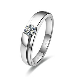 synthetic diamonds 925 silver UK - 0.25Ct Synthetic Diamonds Solitaire Men Ring Solid 925 Sterling Silver Ring White Gold Color Wedding Jewelry S923