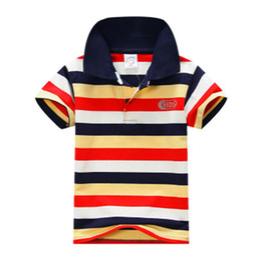 Striped T Shirt Wholesale Canada - Summer Lovely Baby Boys Kids Short Sleeve Cotton T Shirt Kids Tops Striped Shirt Tops