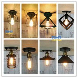 Vintage Cage Ceiling Light NZ - Retro indoor lighting Vintage LED lights 8 kinds iron cage lampshade ceiling light warehouse style light fixture