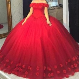 9fa24c7f7eb 2018 Red 3D-Floral Appliques Puffy Ball Gown Quinceanera Dresses Sweet 16  Off Shoulder Tulle Lace Up Back Corset Evening Party Pageant Dress