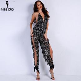Missord 2018 Women Sexy Off Shoulder Deep V Sequin Rompers Playsuits  Elegant Backless Overalls Split Halter Jumpsuit FT9186 a078f9983198