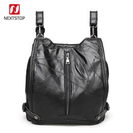 $enCountryForm.capitalKeyWord Canada - NEXTSTOP Fashion Backpack Female Genuine Leather Shoulder Bags Women Stitching Sheepskin Casual Travel bag Multi-back method