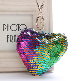 $enCountryForm.capitalKeyWord NZ - new Heart Sequins Keychains for Women Car Bag Pendant Keys Phone Accessories Romantic Key Chains