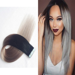 Remi Straight Hair Extension Australia - Two Tone Color Ombre T1b grey Tape Hair Extensions Top Quality Remi Russian Tape In Hair Extensions 100% Invisible Hair