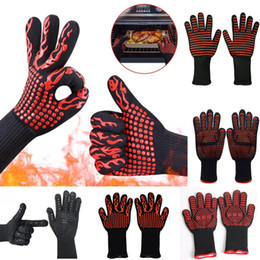 Gloves for cookinG online shopping - 500 Celsius Heat Resistant Gloves Great For Oven BBQ Baking Cooking Mitts In Insulated Silicone BBQ Gloves Kitchen Tastry Tools WX9