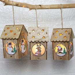 Glow Party Decorations Australia - Pendant LED Lights Glowing Wooden Snowman Cabin Villa Christmas Tree Window Garden Decoration Gift Pendant Creative