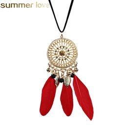 Pluma con cuentas largo negro cadena de la borla collares Dream Catcher rojo color negro collar para mujeres accesorios de oficina trajes de Bohemia elegante