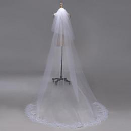 65d308f1d4 3M dos capas borde de encaje con lentejuelas Catedral de marfil blanca Velo  de Novia Velos nupciales largos Accesorios de boda baratos Veu de Noiva  CPA1383