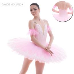 $enCountryForm.capitalKeyWord NZ - Pink Spandex Bodice with White Applique Pre-professional Ballet Tutu Pancake Dance Costume Stage Performance Tutu Girl & Women B