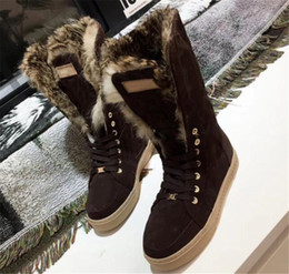 $enCountryForm.capitalKeyWord Australia - 2018 Luxury Brand Furry Snow Boots Fur Suede Youth Snow Boot Warm Anti-Skid Skiing Winter High Cut Below Knee Flat Cotton Padded Shoes 0Lv05