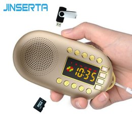 bass packs 2019 - JINSERTA Portable Mini FM Radio Speaker Music Player Stereo Bass with Removable Battery Support TF Card U Disk Play disc