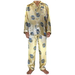 d5e9e6e9e4 2PCS Gold Chinese Men Silk Robe Pajamas Set Long Sleeve Pyjamas Suit Male  Shirt Pant Sleepwear Bath Gown S M L XL XXL XXXL MP016