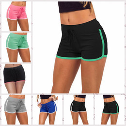 Cotton Blend Yoga Pants Canada - 7 Colors Women Yoga Sports Shorts Cotton Gym Leisure Homewear Fitness Pants Drawstring Beach Shorts Summer Running Pants AAA25