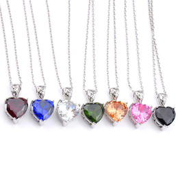 mixed color gems necklace UK - New Luckyshine 12 Pcs Love Heart Mix Color Morganite Peridot Citrine Gems silver Wedding Party Gift Pendant Necklaces With Chain