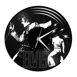 $enCountryForm.capitalKeyWord UK - Elvis Rock vinyl creative home decor wall art quartz wall clock (Size: 12 inches, color: black)