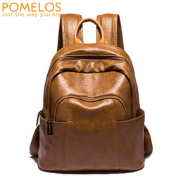 b5b421cc23 Discount vintage leather rucksack backpack - POMELOS Brand Fashion Soft  Leather Women Backpack Female Ladies Back