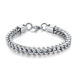 stainless steel square link chain UK - Men's 20 CM High quality stainless steel Square Chain Bracelet Fashion hip-hop Jewelry link Bracelets wholesale