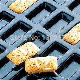 silicone loaf pans Australia - Biscuit Pans Free Shipping 24pcs Standard Financiers Rectangle Shapes Handmade Soap Mold Baking Pan Silicone Forms Stocked