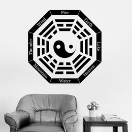 sticker wind 2019 - Yin Yang Symbol Wall Sticker I Ching Eight Trigrams Vinyl Decal Mountain Water Earth Wind Heaven Art Stickers Features Z