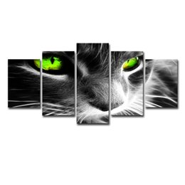 Framing Canvas Prints Australia - Canvas Wall Art Frame Poster HD Prints Painting 5 Panel Animal Green Eye Cat Modular Pictures For Living Room Home Decor