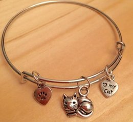vintage cat charm bracelet Canada - Vintage Silver I Love My Cat Heart & Paw Cat Charms Expandable Bracelet Bangles 12pcs For Women Fashion Jewelry Gifts Accessories NEW