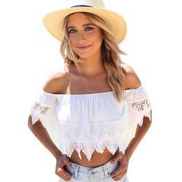 763aba4e1df 2017 Women Sexy Crop Tops Hollow out Lace Slash Neck Slim Cropped Top Lace  Crochet Cami Tank White Women Tops