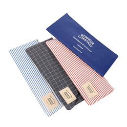 stationery office supplies UK - New Korean Cute Girls Grid Stripes Canvas Pencil Bag Storage Organizer Case Office School Supply Promotional Gift Stationery