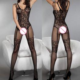 Sexy Lingerie Kadın Crotchless Çorap Fishnet Sheer Vücut Elbise Tayt Gecelikler Dantel Kız Çorap