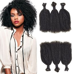 Free Women Human Hair Afro Australia - Peruvian Human Hair Afro Kinky Curly Bulk For Braiding 3 Bundles For Black Women Natural Black Free Shipping FDshine HAIR