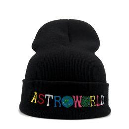 Travis scoTT cap online shopping - New Travi Scott Knitted cold Hat ASTROWORLD Beanie embroidery Astroworld Ski Warm Winter Unisex Travis Scott Skullies Bean