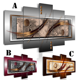 $enCountryForm.capitalKeyWord NZ - Wall Art Canvas Painting for Home Decoration No Frame Extra Mirror Border 5panel Picture Abstract Double Hook Picture