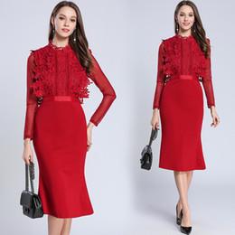 61eccfd3f0 Lace Bodycon Dresses Formal Party Mermaid Dress Women Stand Neck Long Sleeve  Zipper Knee Length Work Dresses