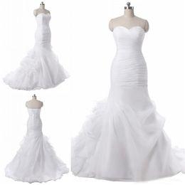 $enCountryForm.capitalKeyWord Australia - Sweetheart Ruffled Organza Mermaid Wedding Dresses Ruffles Pleats Chapel Train Bridal Wedding Gowns Vestido De Novia