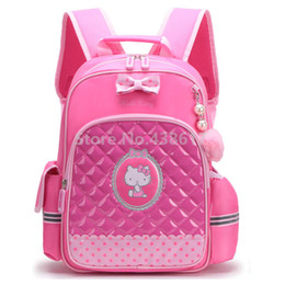Cute Cartoon Pink Hello Kitty Girls School Bag For Kids Children Primary  School Book Backpack Bags b8b0cb1292e38