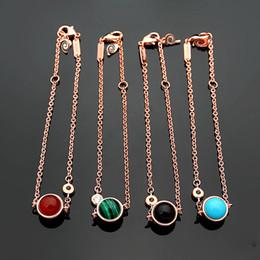 $enCountryForm.capitalKeyWord NZ - 316L titanium steel hot sale P letter rotatable bead bracelet 18K gold plated ladies black red agate turquoise bracelet
