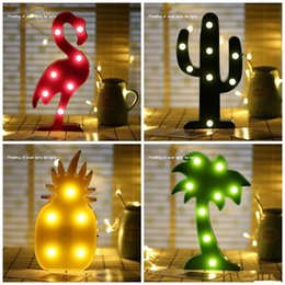 PineaPPle table lamPs online shopping - New Creative Cute Flamingo Cacti Pineapple Coconut Tree Table Lamp Durable LED Light Home Decor Glowing In The Dark Hot Sale aq aa