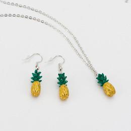 Fruits Earrings Wholesale Australia - New Fashion Choker Necklace Earring Set Link Chain Pineapple Necklace Fruits Pineapple Pendant Necklaces Set for Women PartyGift