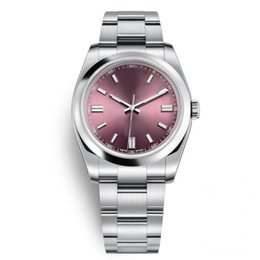 Dresses tops online shopping - AAA Top Quality Mens Wristwatches Sapphire Oyster Perpetual Automatic Red Grape Rose Gold Dial Full Steel Luminous Men Women Dress Watches