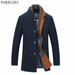 männer wollmantel großhandel-Dicker Herren Grabenmäntel Winter Lange Wolle Trenchcoat Männer Slim Fit Casual Jacken Peacoat Doppelkragen Wollmänzer