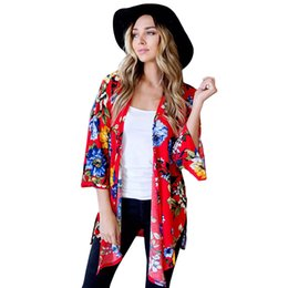$enCountryForm.capitalKeyWord NZ - Fashion Women Kimono Floral Print Open Front 3 4 Bell Sleeve Collarless Side Splits Irregular Hemline Loose Casual Long Cardigan